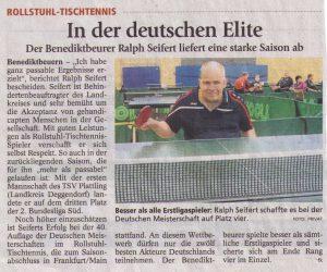Ralf Seifert auf Platz 4 in der Deutschen Meisterschaft im Tischtennis